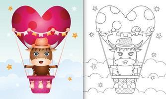 kleurboek voor kinderen met een schattig buffelmannetje op valentijnsdag met een heteluchtballon vector