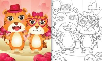 kleurboek voor kinderen met een schattige valentijnsdag met een tijgerpaar vector