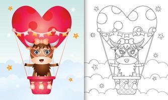 kleurboek voor kinderen met een schattig buffelvrouwtje op valentijnsdag met een heteluchtballon vector