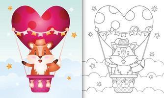 kleurboek voor kinderen met een schattig vos-mannetje op valentijnsdag met een heteluchtballon vector