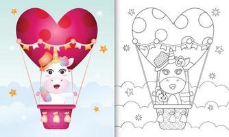 kleurboek voor kinderen met een schattig eenhoornmannetje op valentijnsdag met een heteluchtballon vector