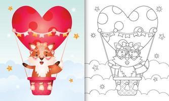 kleurboek voor kinderen met een schattig vos-vrouwtje op valentijnsdag met een heteluchtballon vector