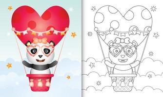 kleurboek voor kinderen met een schattig panda-vrouwtje op valentijnsdag met een heteluchtballon vector