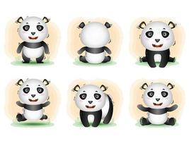 schattige pandacollectie in de kinderstijl vector