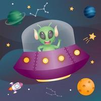 schattige alien in de ruimtemelkweg. vector illustratie
