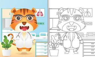 kleurboek voor kinderen met een schattige tijger dokter karakter illustratie vector