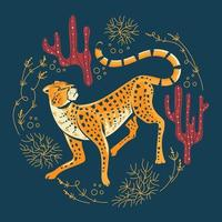 schattige jachtluipaardjacht met spinifexgras en cactus vector