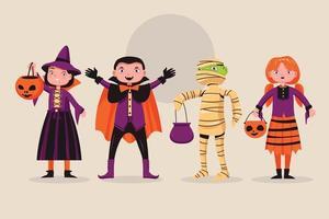 set van schattige halloween jongen karakter met kostuum