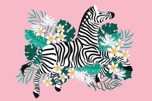 wilde zebra met exotische tropische bloemachtergrond vector
