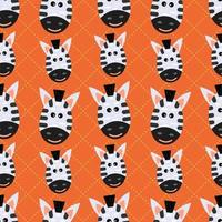 schattige zebra dierenkop naadloze patroon vectorillustratie