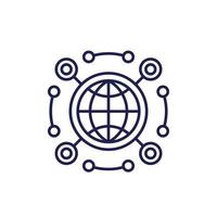 netwerk api lijn pictogram op wit vector