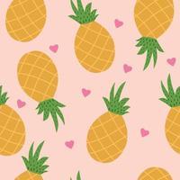 tropisch naadloos patroon met ananas en harten op gele achtergrond. vector illustratie.