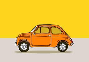oranje retro mini cooper vector