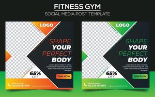 fitness gym social media postsjabloon vector