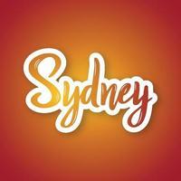 sydney - hand getrokken belettering zin. sticker met letters in papierstijl. vector