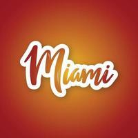 miami - handgeschreven naam van de Amerikaanse stad. sticker met letters in papierstijl. vector