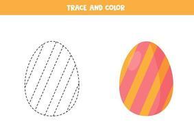trace en kleur cartoon paasei. grappig werkblad voor Pasen. vector