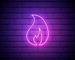 eenvoudig vuur vlam pictogram. roze neonstijl op bakstenen muurachtergrond. licht pictogram vector