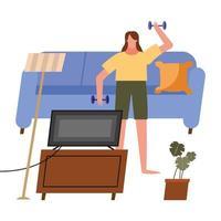 vrouw tillen gewichten en tv kijken thuis vector design