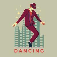 man het uitvoeren van een tapdans in een spotlight en muziekinstrument achtergrond