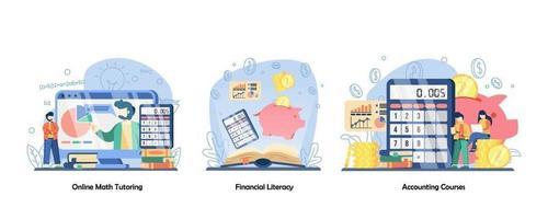 online onderwijs, geld besparen, online cursussen icon set. online wiskundebegeleiding, financiële geletterdheid, boekhoudkundige cursussen. vector platte ontwerp geïsoleerde concept metafoor illustraties