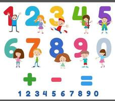 educatieve nummers met grappige kinderkarakters vector