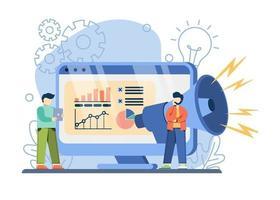e-commerce promotie concept. grote megafoon op het scherm biedt online winkelaankondigingen met korting. flitsuitverkoop, speciale aanbieding, e-commerce winkelpromotie, online winkelen abstracte metafoor.