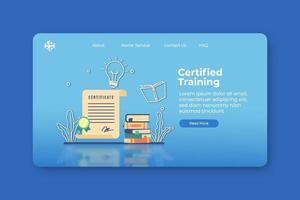 moderne platte ontwerp vectorillustratie. gecertificeerde trainingslandingspagina en webbannersjabloon. certificering, online cursussen, digitaal onderwijs, webinar, e-learning, videozelfstudie, online onderwijs. vector