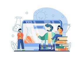 online wetenschappelijke bijles. man en vrouw kijken naar online wetenschappelijke bijles. homeschooling, educatief platform, videolessen kunnen worden gebruikt voor bestemmingspagina's, web, banners, sjablonen, achtergronden.