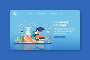 moderne platte ontwerp vectorillustratie. universiteit of collage-bestemmingspagina en webbannermalplaatje. onderzoek en leren, studie literatuur, online onderwijs, e-learning, afstandsonderwijs concept vector