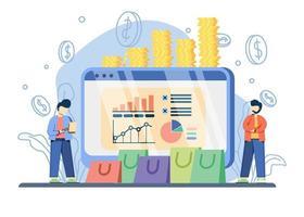 verkoopvooruitgang concept met grafiek op monitor