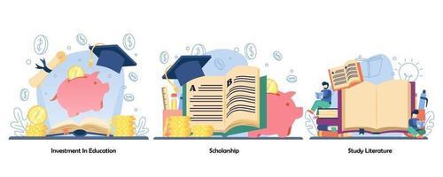 geld sparen voor onderwijs, beloning, afstandsonderwijs icon set. investering in onderwijs, studiebeurzen, studie literatuur. vector platte ontwerp geïsoleerde concept metafoor illustraties