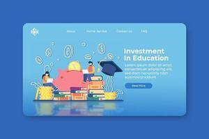 moderne platte ontwerp vectorillustratie. investering in bestemmingspagina voor onderwijs en webbannersjabloon. studiebeurs, studielening, geld sparen voor onderwijs, wereldwijde bedrijfsstudie, onderwijs in het buitenland. vector