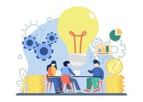 bedrijfsstrategie concept. creatieve discussie voor bedrijfsstrategie. bedrijfsidee, strategie en oplossing, probleemoplossing, besluitvorming, effectieve prestaties, roadmap abstracte metafoor. vector