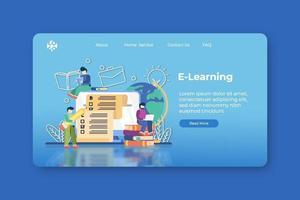 moderne platte ontwerp vectorillustratie. e-learning bestemmingspagina en webbannersjabloon. digitaal onderwijs, online onderwijs, afstandsonderwijs, thuisonderwijs, leren tijdens quarantaine vector