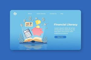 moderne platte ontwerp vectorillustratie. bestemmingspagina voor financiële geletterdheid en webbannersjabloon. financiële educatie, boekhouding, e-business school, geld besparen, webinar.