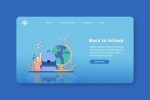 moderne platte ontwerp vectorillustratie, terug naar school-bestemmingspagina en websjabloon voor spandoek. leren en studeren, collage, onderwijs. vector