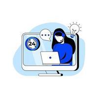 klantenservice platte ontwerp concept vector illustratie pictogram. ondersteuning, callcenter, helpdesk, hotline-operator. abstracte metafoor. kan gebruiken voor bestemmingspagina, mobiele app.