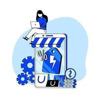 online bedrijf plat ontwerp concept vector illustratie pictogram. e-commerce, online winkel, flash-verkoop. abstracte metafoor. kan gebruiken voor bestemmingspagina, mobiele app.