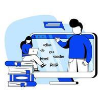 online it-cursussen platte ontwerp concept vector illustratie pictogram. taalprogrammering, it-cursussen, e-learning, online klaslokaal. abstracte metafoor. kan gebruiken voor bestemmingspagina, mobiele app, ui, banners
