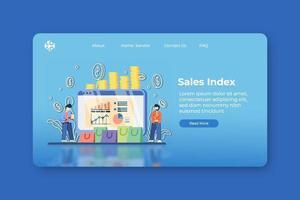 moderne platte ontwerp vectorillustratie. verkoopindex bestemmingspagina en webbannersjabloon. verkoopvoortgang, voorradenstatistiek en prognose van zakelijke trends, verkoopgrafiek, seo-analyse, vraagplanning. vector