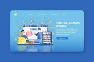 moderne platte ontwerp vectorillustratie. webinar-bestemmingspagina voor financiële geletterdheid en webbannersjabloon. financiële educatie, boekhouding, e-business school, geld besparen.