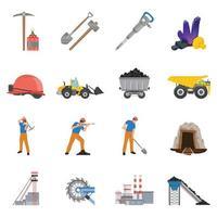 mijnwerker mijnbouw platte set vector
