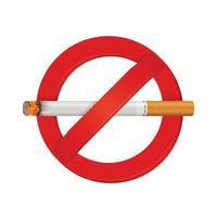 niet roken teken realistische sigaret vector