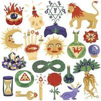 trendy alchemie magische religie tattoo set vector