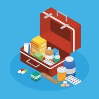 farmaceutische productie isometrische achtergrond