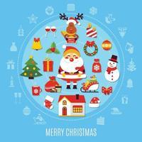 kerst platte vectorillustratie