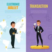 cryptocurrency bitcoin verticale banners vector