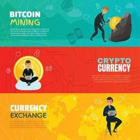 cryptocurrency bitcoin horizontale banners vector