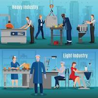 fabrieksarbeiders composities plat vector